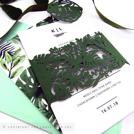 Greenery Wedding Invitation | Laser Cut Wedding Stationery Suite | Custom Sample Invite Botanical wedding stationery with a modern twist. Featuring intricate laser cut topical foliage and watercolour palm leaves with a fresh greenery inspired colour palette.