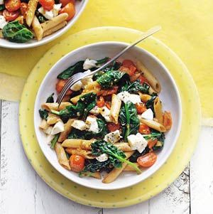 Penne with Spinach, Mozzarella and Tomatoes! I love my pasta!