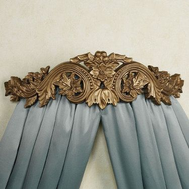 """Flowering Medallion Aged Gold Wall Teester Bed Crown, $125.00. Also comes in an Antique Ivory. Hand-painted aged gold finish, Resin scrolls, bead trim, acanthus leaves & floral accents. Wall teester displays your curtains or sheers with the removable, curved metal bar in back.  Measures: 25""""W x 8""""D x 7.5""""H Made by Craft Tex."""