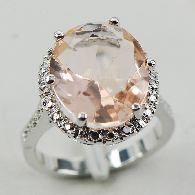 จำลองM OrganiteสีขาวคริสตัลZirconWomen 925แหวนเงินF974ขนาด6 7 8 9 10