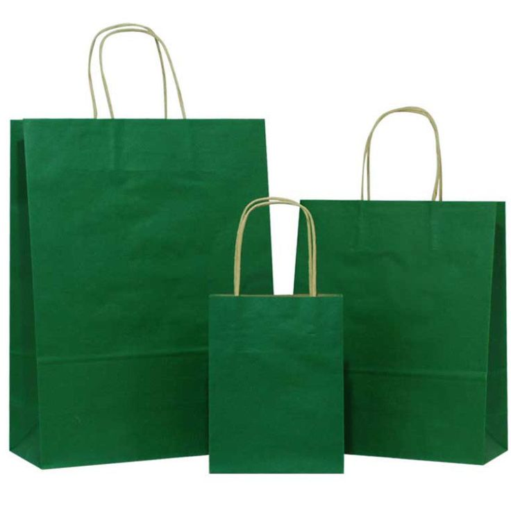 Cheap Dark Green Solid on Brown Carrier Bags with Twisted Handle – Pico Bags