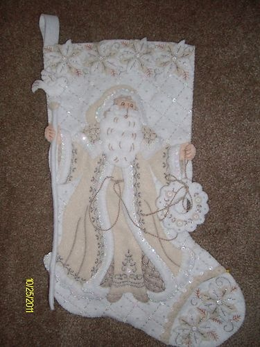 "Bucilla Finished White Christmas 18"" Stocking - Handstitched 