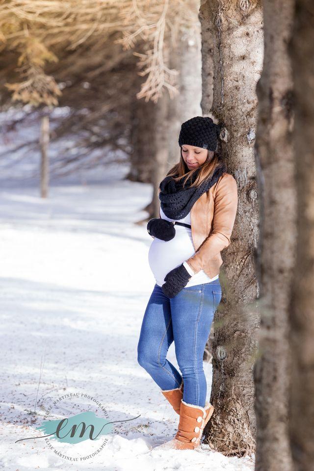 Photographie maternité hivernale Pregnant winter photography