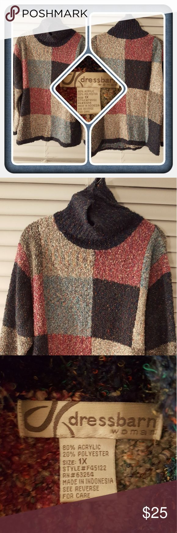 ❤ Woman's Turtleneck Sweater Size 1X ❤ Woman's Turtleneck Sweater From Dressbarn Size 1X. This Super Cute & Comfy Sweater Fits Small More Like An XL Or Large In My Opinion Form Fitting. This Is Perfect For Fall And Winter Great Pre Loved Condition Bought From Another Seller But I Never Wore It 🚫 PAYPAL 🚫 TRADES 🚫 OFFERS PRICE IS FIRM ❤ Dress Barn Sweaters Cowl & Turtlenecks