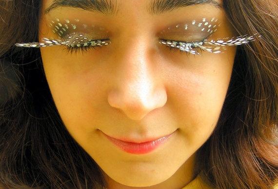 Spotted Feather Eyelash Jewelry  false eyelashes by EyelashJewelry, $30.00