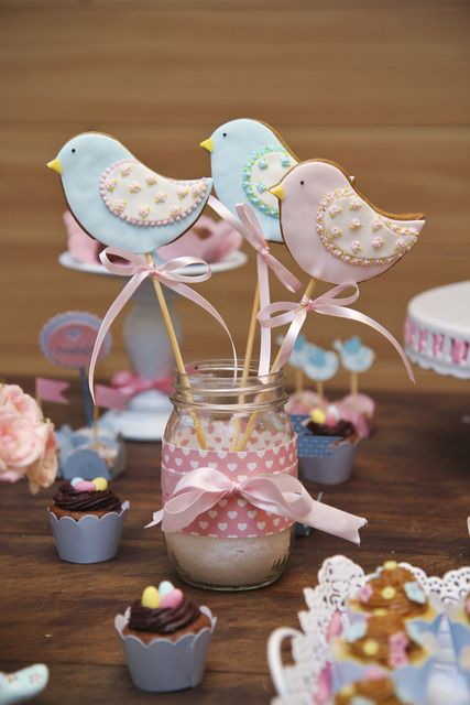 Pretty decorated birds in mason jars at a Vintage Shabby Chic party! See more party ideas at CatchMyParty.com!