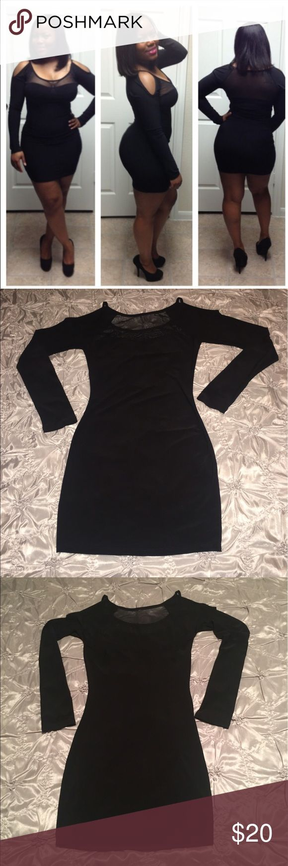 Sexy Little Black Dress! Sexy little black dress with sheer, mesh sweetheart top. Long sleeves. No zippers, hooks or closures. 92% Polyester 8% Spandex. Only worn once! Dresses Mini