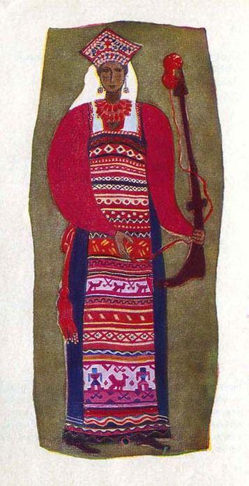 Костюм крестьянки Калужской губернии. Костюм состоит из домотканой холщовой рубахи с кумачовыми рукавами, шерстяной одноцветной па-невы, домотканого холщового передника и шерстяного пояса c кистями, унизанными бисером. Особую на-рядность костюму придает передник. Тканые изображения женских фигур, птиц, кустиков, узорные и гладкие полосы, полоски-затканки чередуются на нем c вышивкой косыми крестами и разноцветными нашивками из ситца. Кокошник шит жемчугом и цветными бусами.
