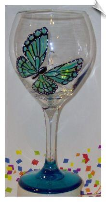 Iridescent Butterfly Wine Glass