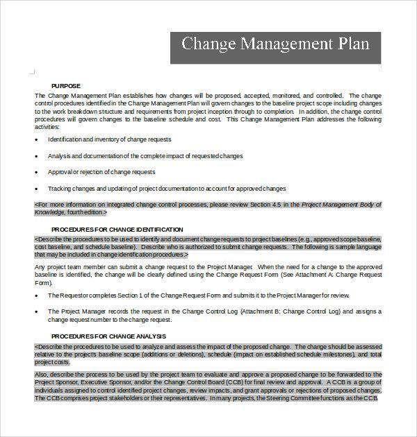 Change Management Plan Template Change Management Communication