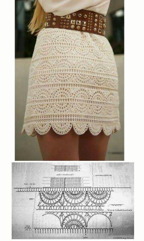 Falda a ganchillo con gráfico.crochet skirt short white