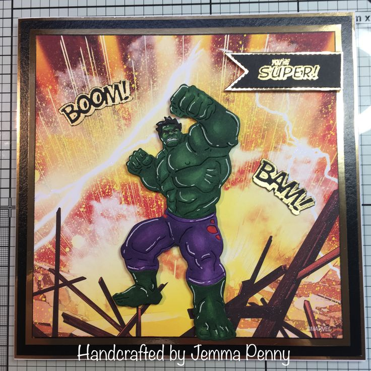 Marvels Hulk paper pad and dies coloured with Copics