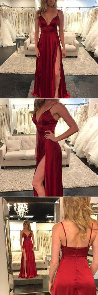 Sexy burgundy v neck long prom dress, burgundy evening dress – trendty