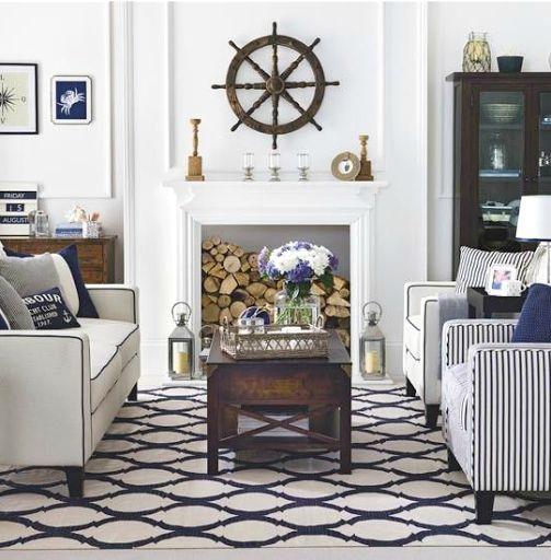 Elegant Nautical Living Room Design Ideas. Ship Wheel Focal Point. Wall  Decor Idea For
