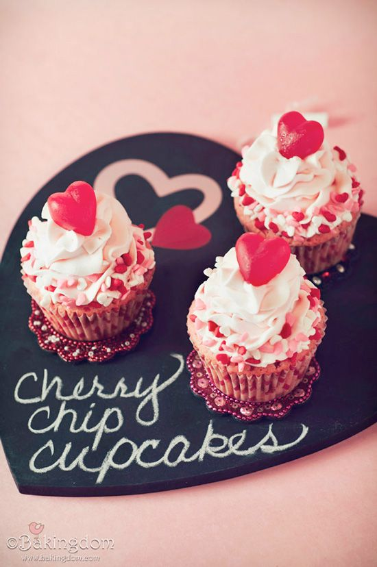 Sweet Cherry Chip Valentine Cupcakes