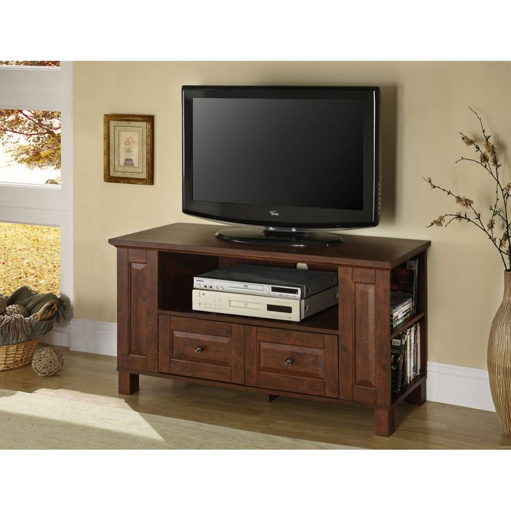 Traditional Brown 44 Inch Multi Purpose Tv Console Walker Edison Furniture Co. Tv Cabinets