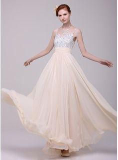 A-Line/Princess V-neck Floor-Length Chiffon Holiday Dress With Ruffle Beading (020016199) - JJsHouse