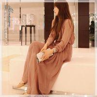 Осень Винтаж Полный Шифоновое Платье Женская Мода Boho Плиссированные Макси Длинные Платья Цельный Платье