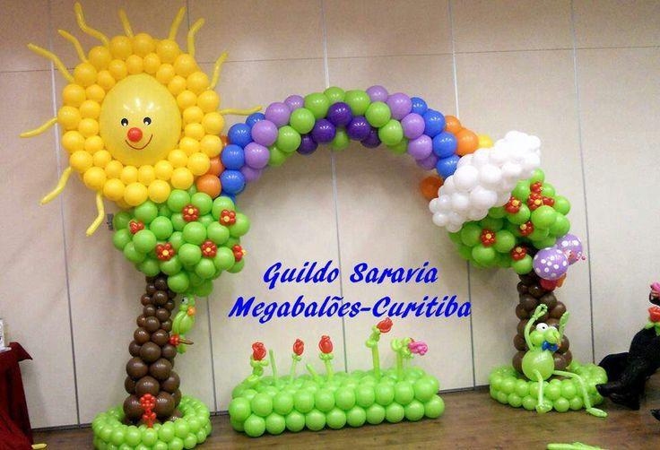 Arco iris arcos en globos pinterest irises and arches - Como hacer adornos para fiestas ...