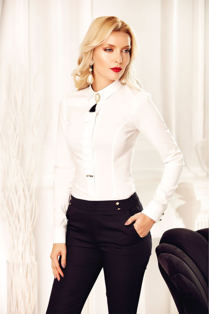 Fofy white office elegant women`s shirt accessorized with breastpin, women`s shirt, pointed collar, accessorized with breastpin, pleats at the bust, long sleeves, elastic cotton