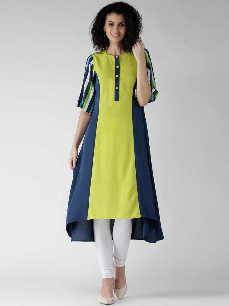 GERUA Lime Green & Navy Crepe Colourblocked A-Line Kurta