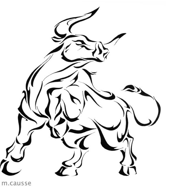 I'm not fond of the nose or the stance (because the upward leg is unnatural for bulls period), but if I didn't go for a realistic tat I would want it outlined similarly.