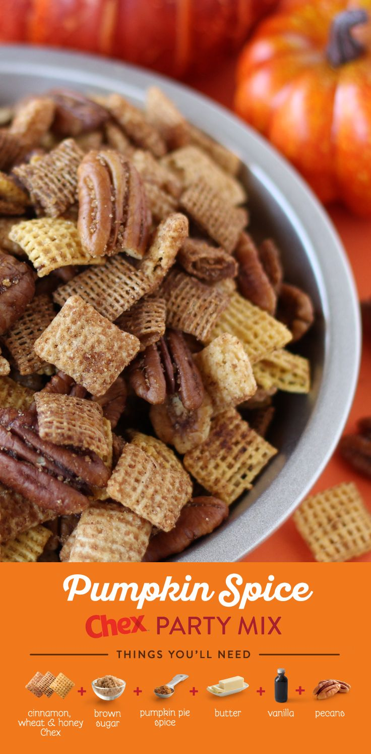 Give a warm welcome to your guests this season with our recipe for Pumpkin Spice Chex Mix, made with crunchy pecans, pumpkin spice, Honey Nut Chex and Cinnamon Chex cereals! Ready to serve in less than 10 minutes, Pumpkin Spice Chex Mix is the easiest snack to start any fall occasion this season.