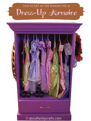 DIY turn an old dresser into a dress-up armoire.  Pretend play closet for kids project furniture repurposing idea.