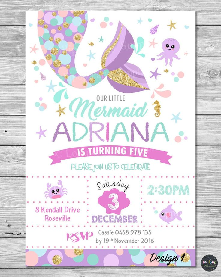 LITTLE MERMAID INVITATIONS INVITE 1ST FIRST BIRTHDAY PARTY SUPPLIES POOL OCEAN #CUSTOMINVITATION #Birthday www.lollipoppartysupplies.com.au