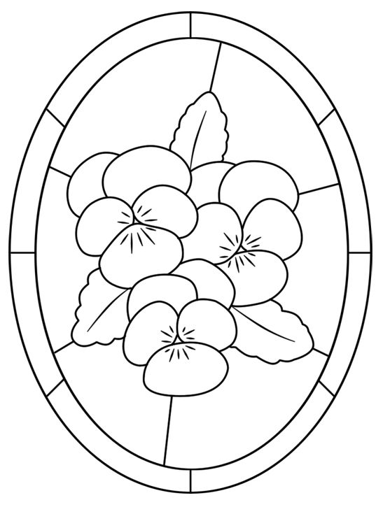 A stained glass pattern of violas to colour in a oval shape  stainedglassviolasoval.gif (547×725)