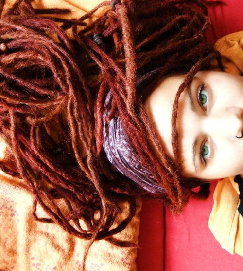 red dreads, green eyes, I have always wanted to do this but the commitment to this hair style I can not do...