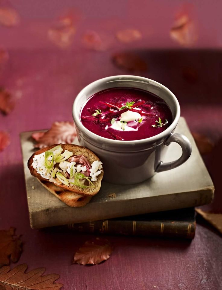 Beetroot soup with crème fraîche and feta toasts