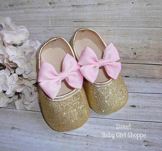 Gold Baby Shoes Pink and Gold First by SweetBabyGirlShoppe