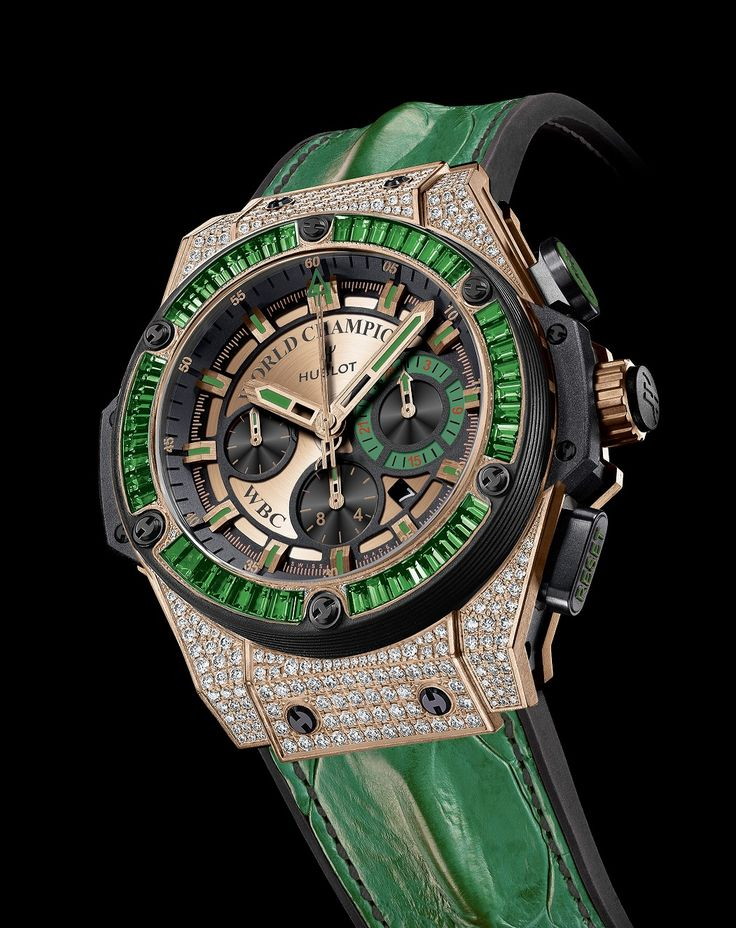 Floyd Mayweather presented with Hublot King Power WBC Full Pav with Emeralds