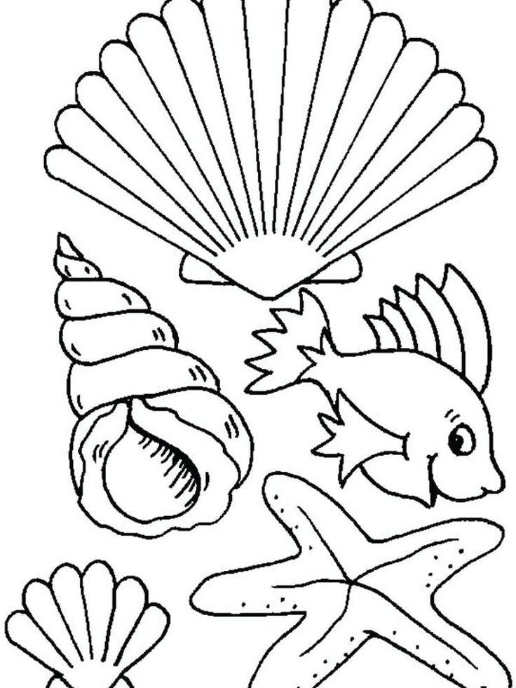 Sea Shell Coloring Page. Shellfish are aquatic animals