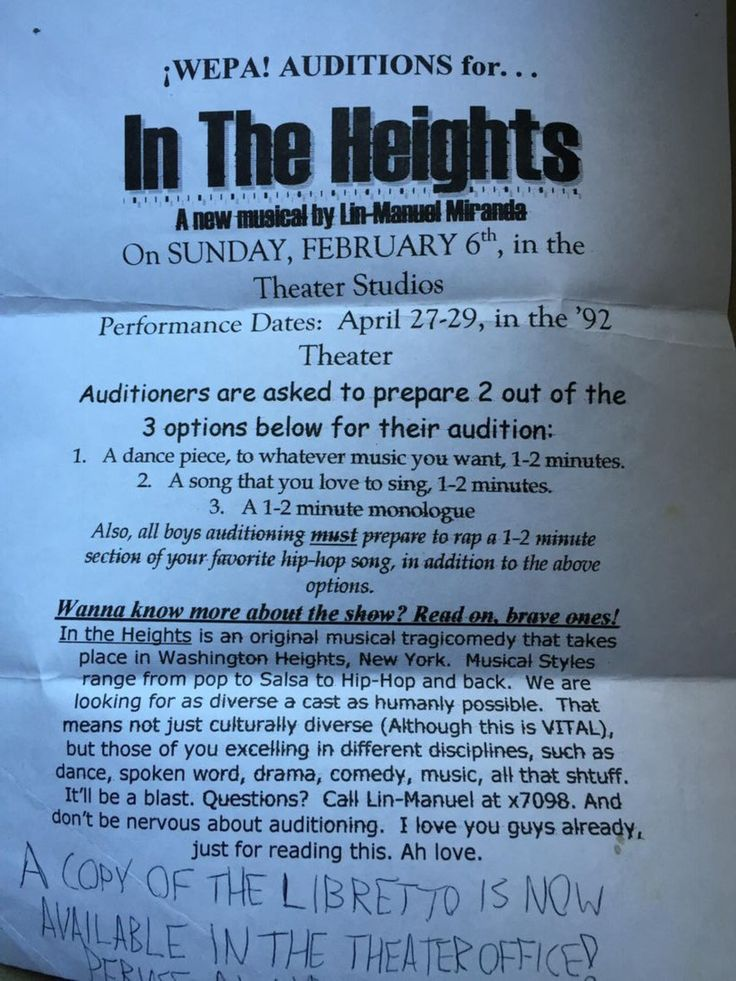 The original cast calling for In The Heights at Wesleyan<<<this is the most chill casting call ever😂