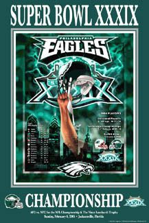 Philadelphia Eagles SUPER BOWL XXIX vs Patriots (2005) Commemorative Poster