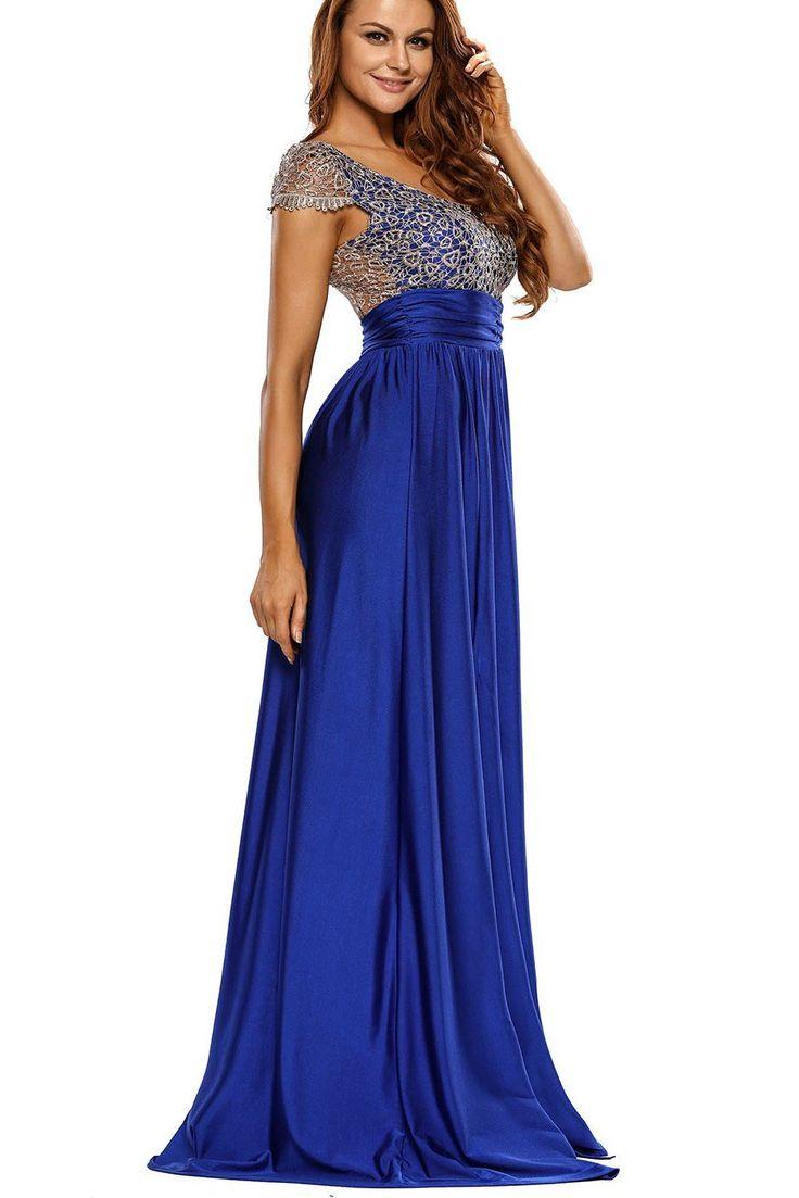 Robe de Soiree Longue Moderne Dentelle Superposition Bleu avec Fente Pas Cher www.modebuy.com @Modebuy #Modebuy #Bleu #me #dress #mode