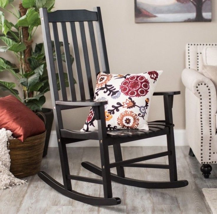 Large Wooden Rocking Chair Black Porch Outdoor Indoor Home Decor Garden GIFT New #MerryProducts
