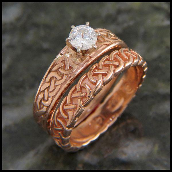 Tapered Knot Diamond Wedding Set Celtic Eveything Pinterest