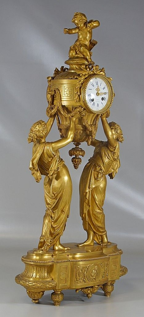 Gilt bronze figural French mantle clock, back plat - by William Bunch