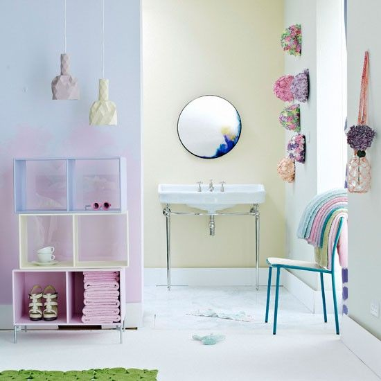 Creative pastel bathroom? Love the contrast of opulent sink with plain modern surroundings