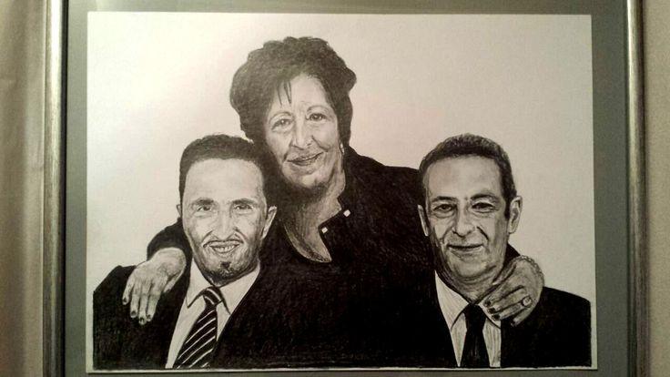 Italian family pencil portrait