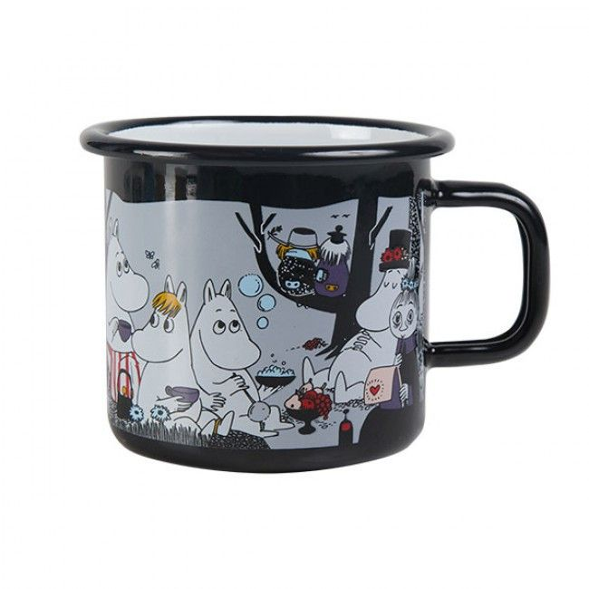 Wonderful Moomin picnic enamel mug holds 3,7 dl. Black mug feature several characters from the Moominvalley.Muurla combines design with durability in this retro Moomin enamel mug. Dishwasher safe, oven safe, freezer safe.
