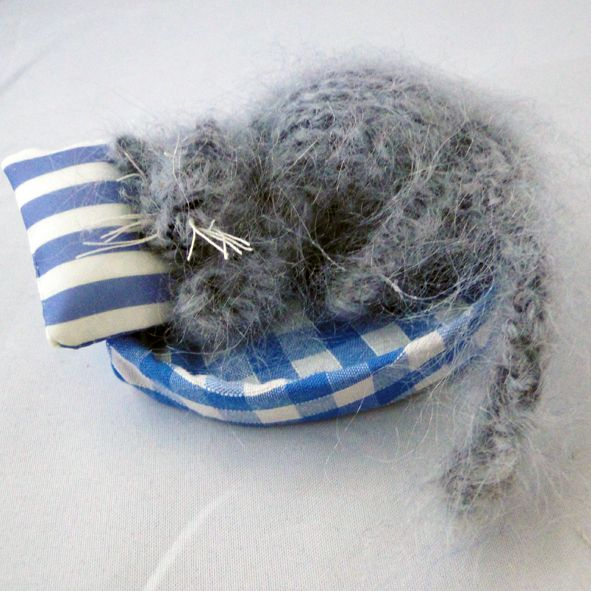 Grey Cat Nap - Fast Asleep - Knitted Textile Gift, Paradis Terrestre - Luxury British Made Accessories & Homeware