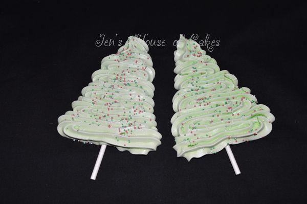 Christmas Tree Meringue Pops