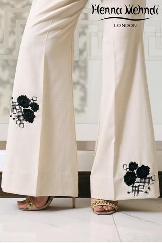 Cream Embroidered Trousers