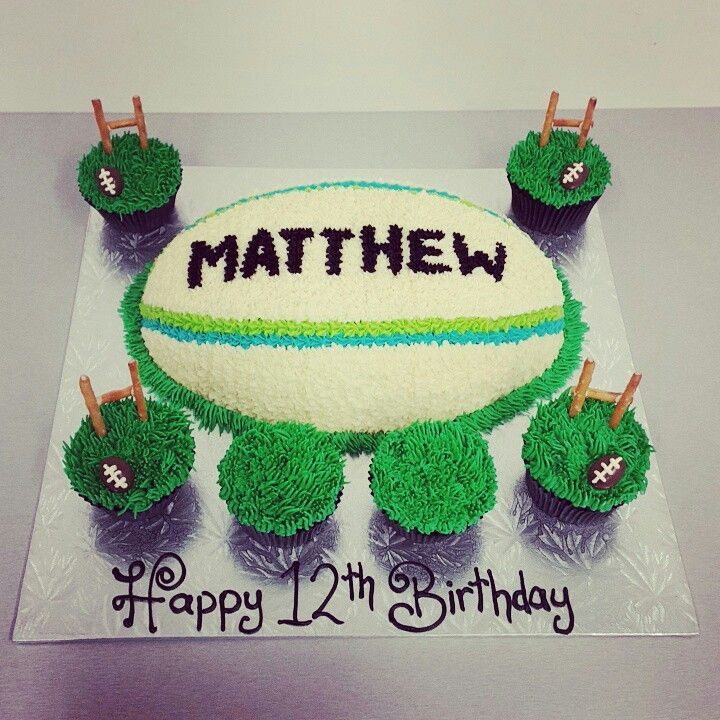 Pin English Rugby Themed Ball Cake Covered Sportcakes Made Cake on ...