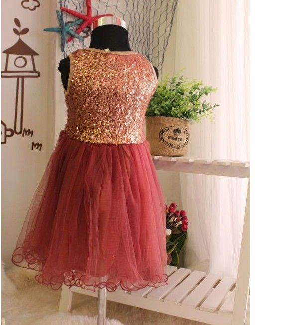 Sequined bronze & maroon tulle dress  - Thumbnail 1