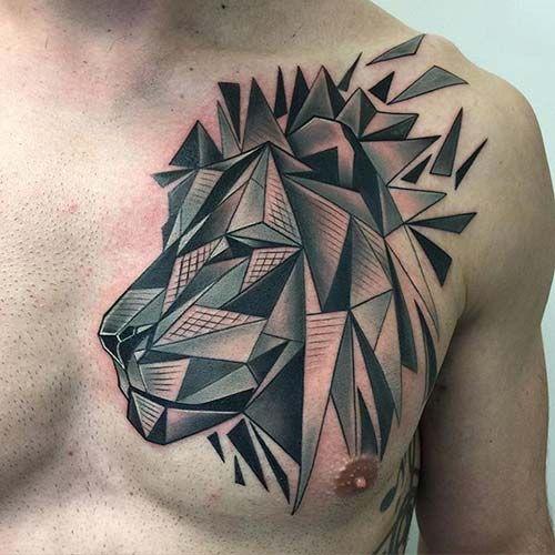 best geometrick lion tattoo en güzel aslan dövmesi çalışması